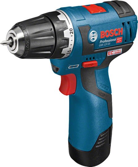 Aku vrtací šroubovák Bosch GSR 12V-20 Professional, 2x AKU 3,0Ah, 06019D4005