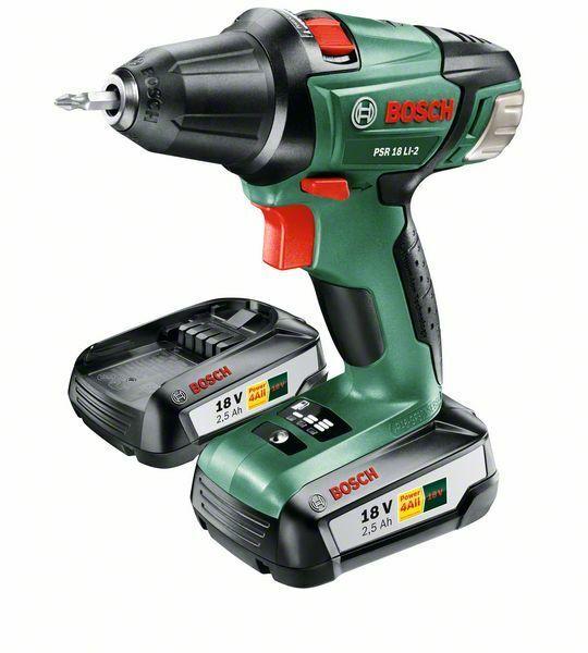 Aku vrtací šroubovák PSR 18 LI-2 Bosch (2x baterie, nabíječka), 060397330H