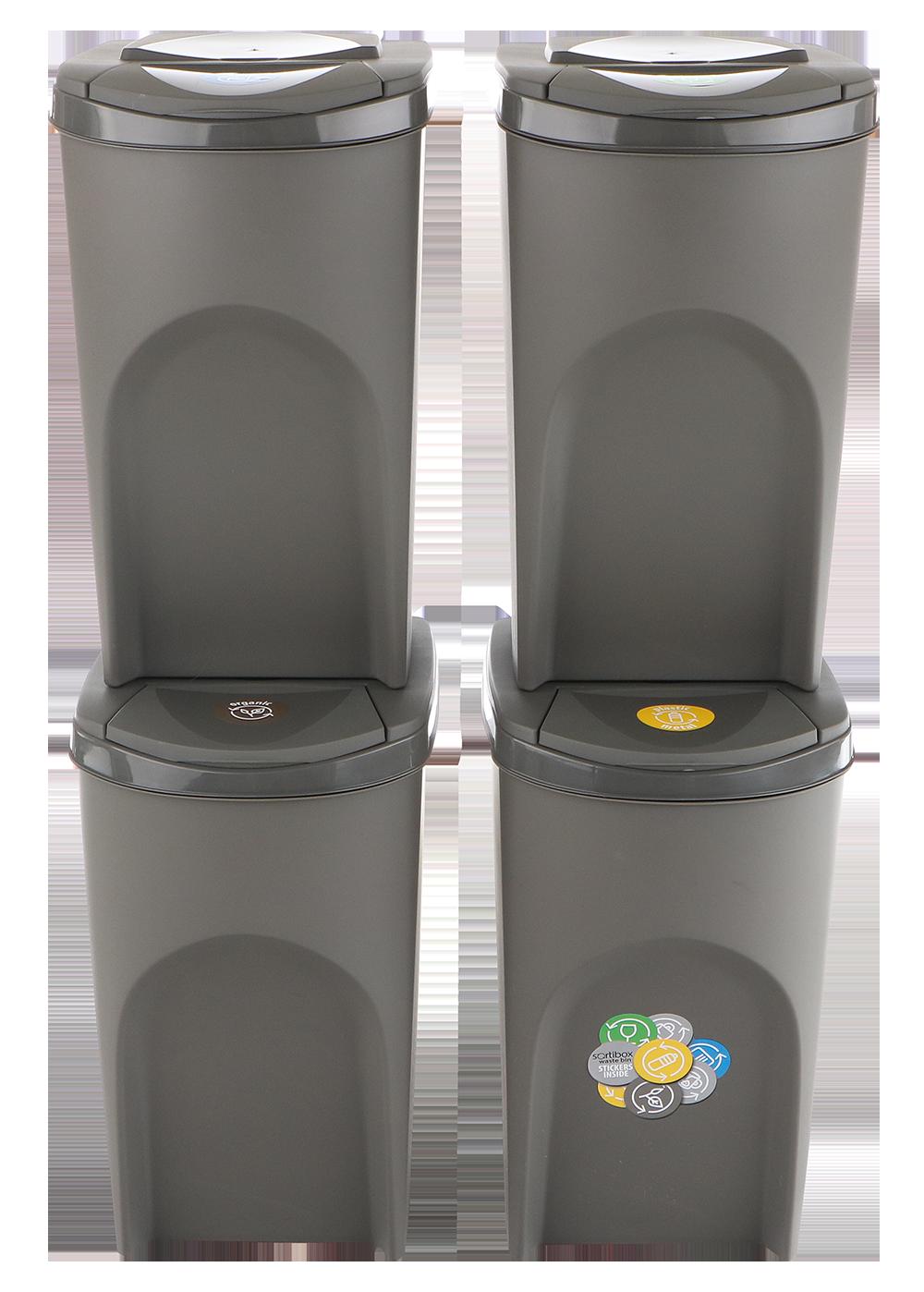 Sada 4 odpadkových košů SORTIBOX Šedý kámen 392x293x680 s šedým víkem a nálepkami