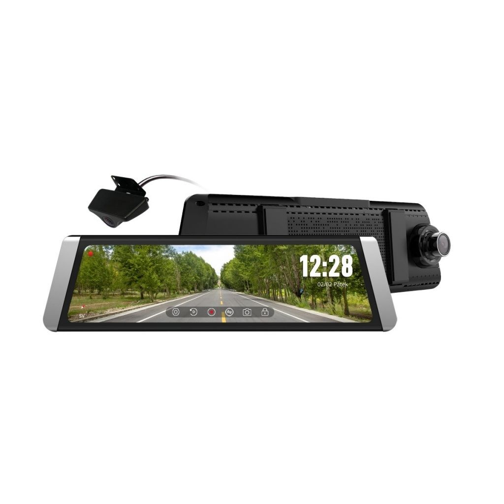 Kamera do auta ve zpětném zrcátku CEL-TEC M10 DUAL GPS Premium