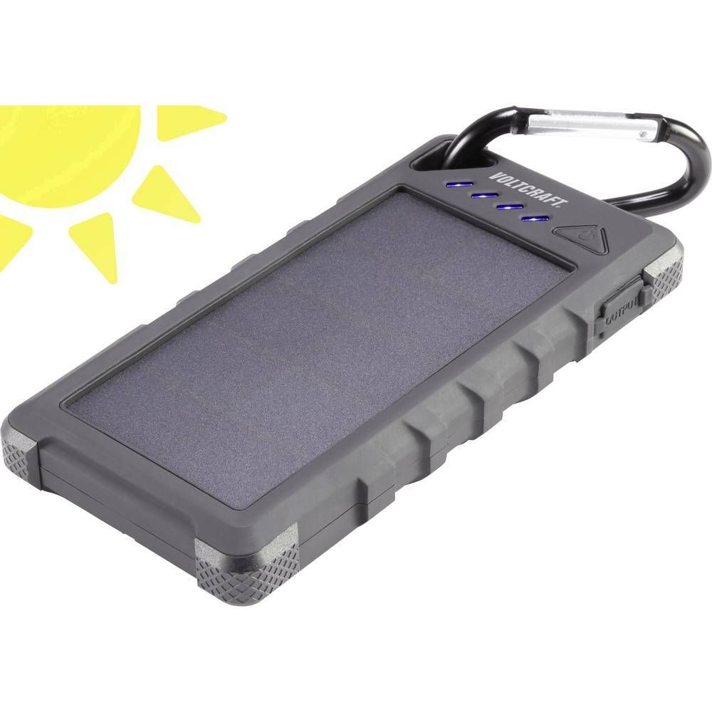 Solární powerbanka VOLTCRAFT SL-160, Li-Pol 16000 mAh, černá
