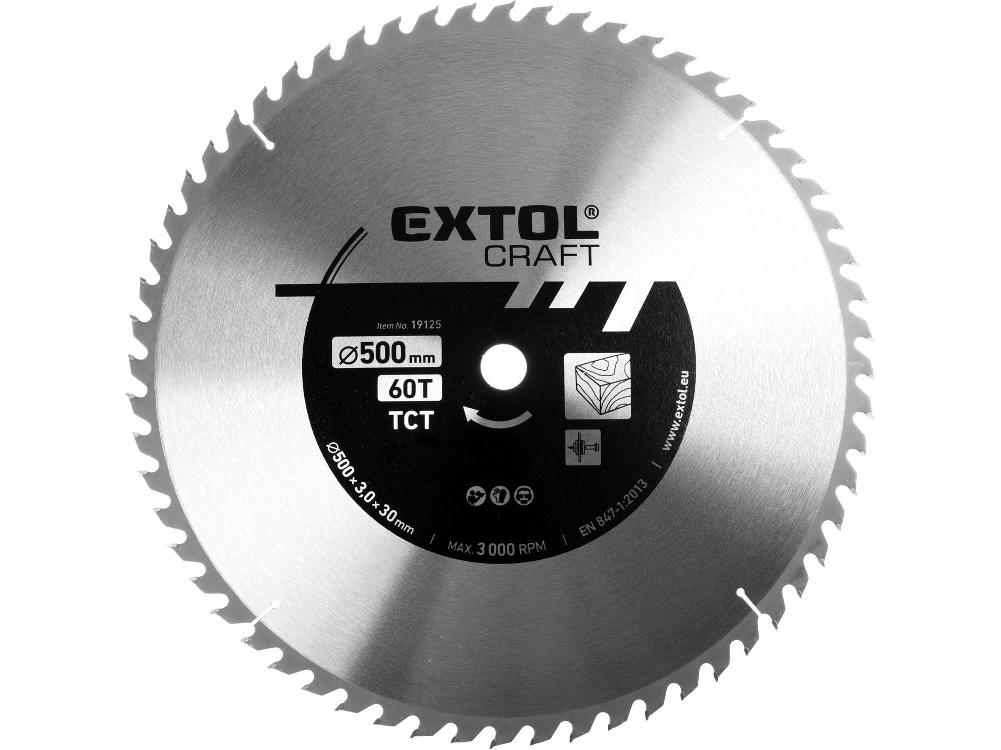 Kotouč pilový s SK plátky, 400x2,5x30mm, 60T, šířka SK plátku 3,8mm, EXTOL CRAFT