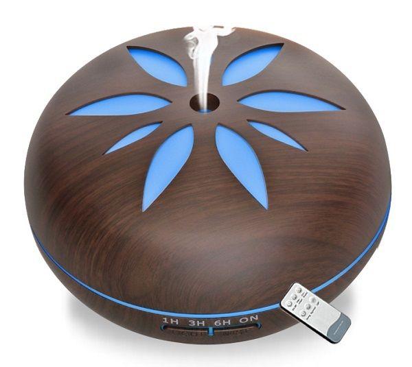 Aroma difuzér Y02 550ml tmavé dřevo - ultrazvukový, 7 barev LED, dálkové ovládání