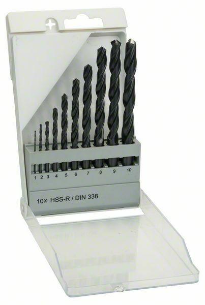 Sada vrtáků do kovu HSS-R, 10dílná, DIN 338 - 1; 2; 3; 4; 5; 6; 7; 8; 9; 10 mm - 316514000