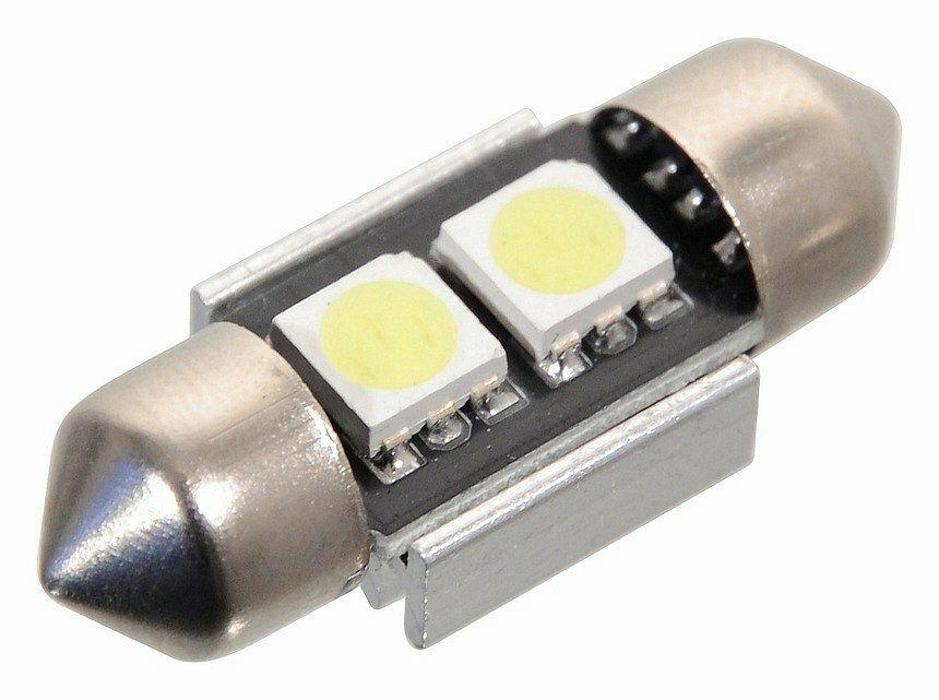 Žárovka 2 SMD LED 12V suf. SV8.5 32mm s rezistorem CAN-BUS ready bílá, COMPASS