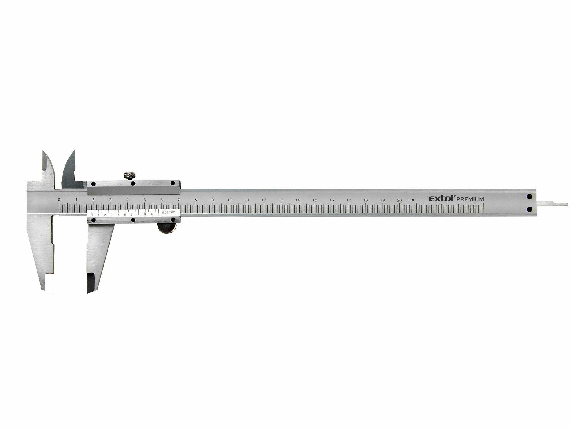 Měřítko posuvné kovové, dva typy čelistí pro různé typy měření, hloubkoměr