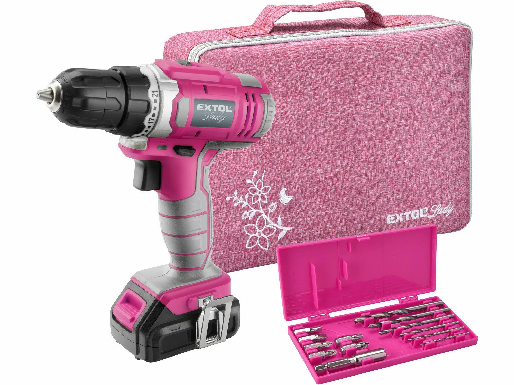 Vrtací šroubovák aku, růžový, 1x1300mAh, 12V Li-Ion, sada v tašce, EXTOL LADY, 402401