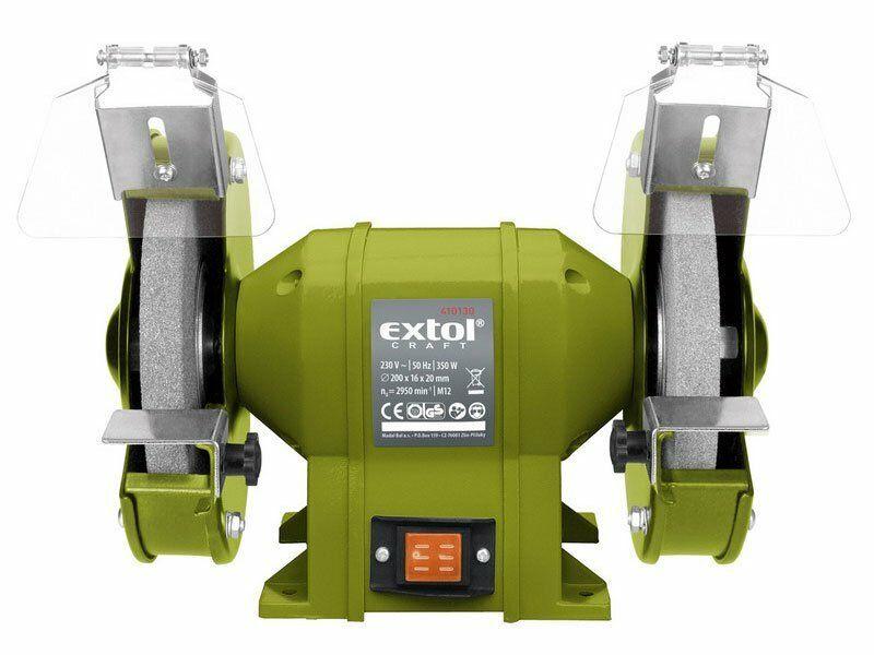 Brúska stolná dvojkotúčová, 350W, 200x16x š.20mm, EXTOL CRAFT, 410130