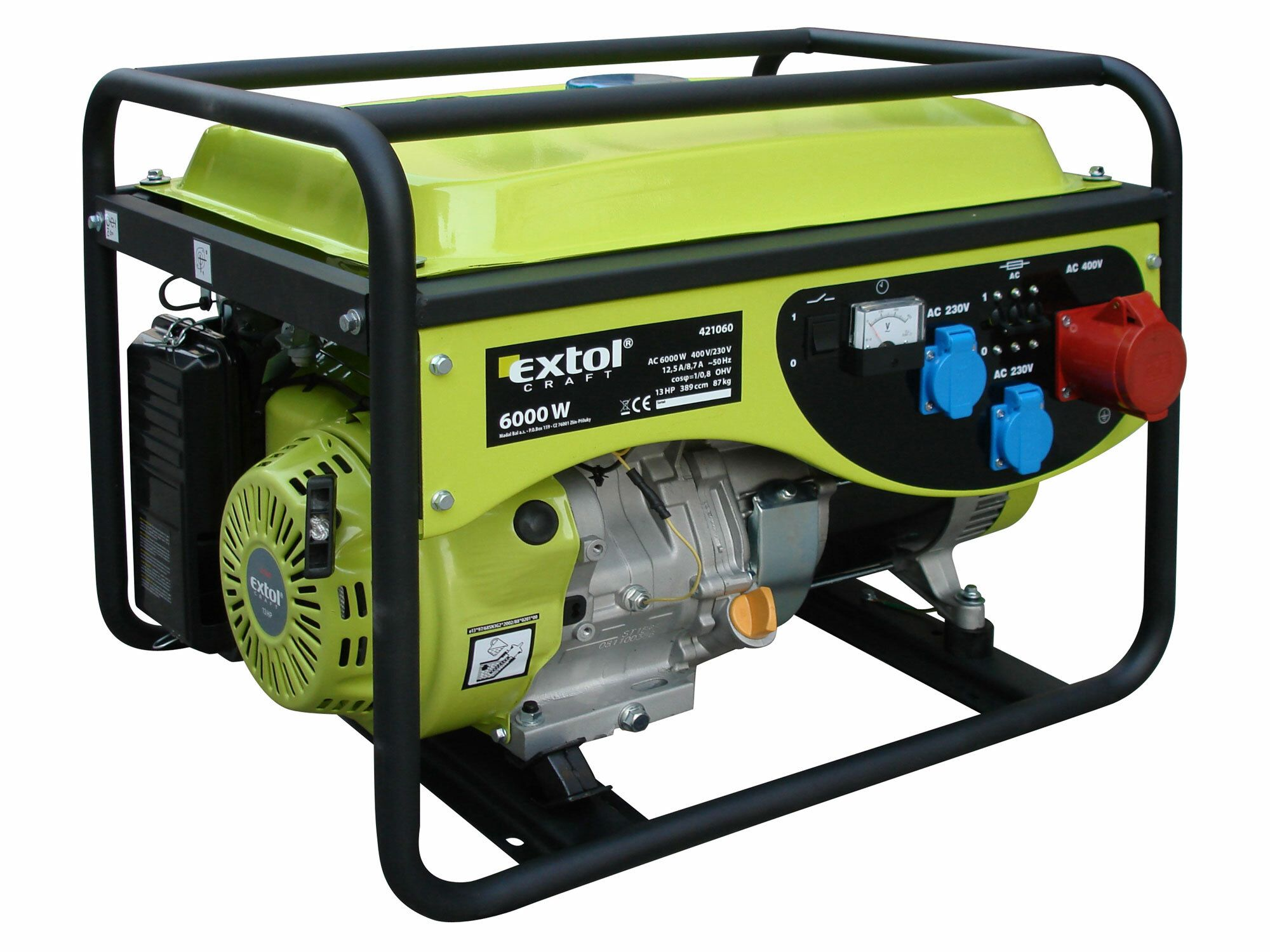 Elektrocentrála benzínová 13HP, 6,0kW (400V)/2,2kW (230V), EXTOL CRAFT, 421060