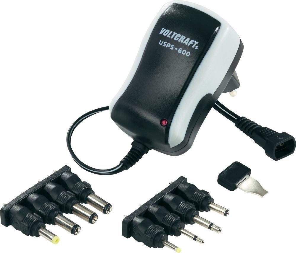Síťový adaptér s redukcemi Voltcraft USPS-600, 3 - 12 V/DC, 7,2 W, černá, 3 roky záruka