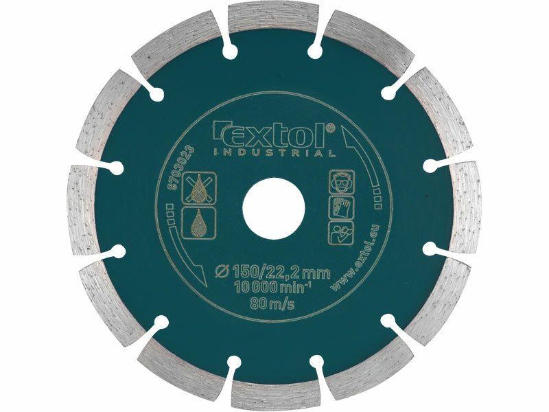 Kotúč diamantový rezný segmentový Grab Cut, 150x22,2mm, suché rezanie, EXTOL INDUSTRIAL