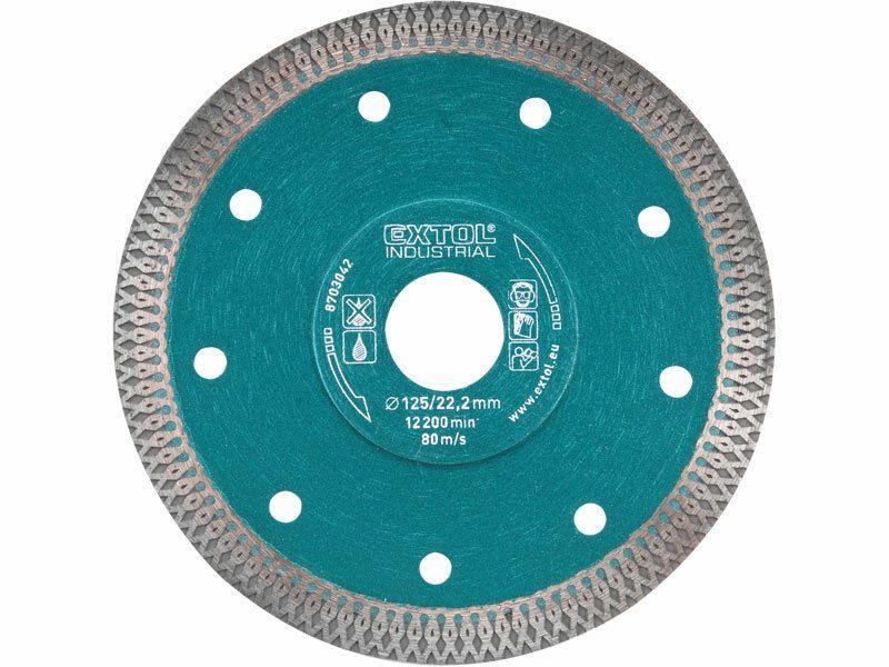 Kotúč diamantový rezný turbo Thin Cut, 125x22,2mm, suché i mokré rezanie, EXTOL INDUSTRIAL