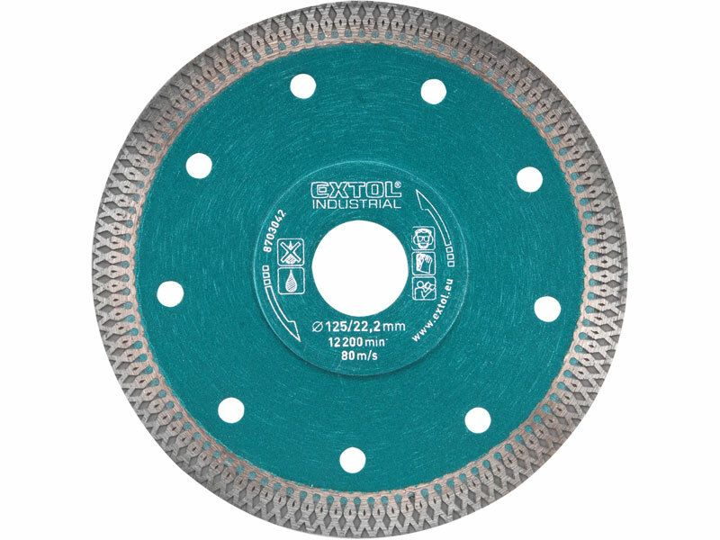 Kotúč diamantový rezný turbo Thin Cut, 230x22,2mm, suché i mokré rezanie, EXTOL INDUSTRIAL