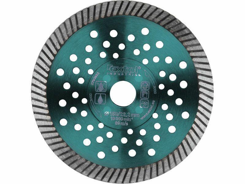 Kotúč diamantový rezný turbo Fast Cut, 115x22,2mm, suché i mokré rezanie, EXTOL INDUSTRIAL