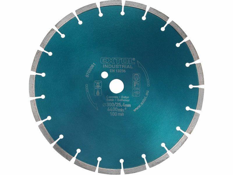 Kotúč diamantový rezný segmentový na BETON, 300x25,4mm, suché i mokré rezanie, EXTOL INDUSTRIAL