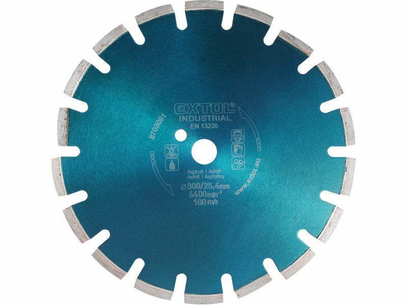 Kotúč diamantový rezný segmentový na ASFALT, 300x25,4mm, suché i mokré rezanie, EXTOL INDU