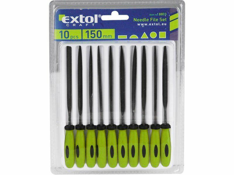 Pilníky ihlové s plastovou rukoväťou, sada 10ks, 150mm, EXTOL CRAFT