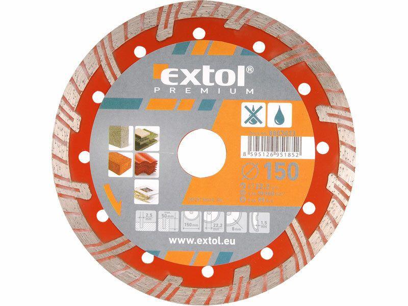 Kotúč diamantový rezný turbo plus, 230x22,2mm, suché i mokré rezanie, EXTOL PREMIUM