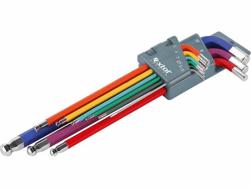 L-klíče imbus prodloužené barevné, sada 9ks, CrV