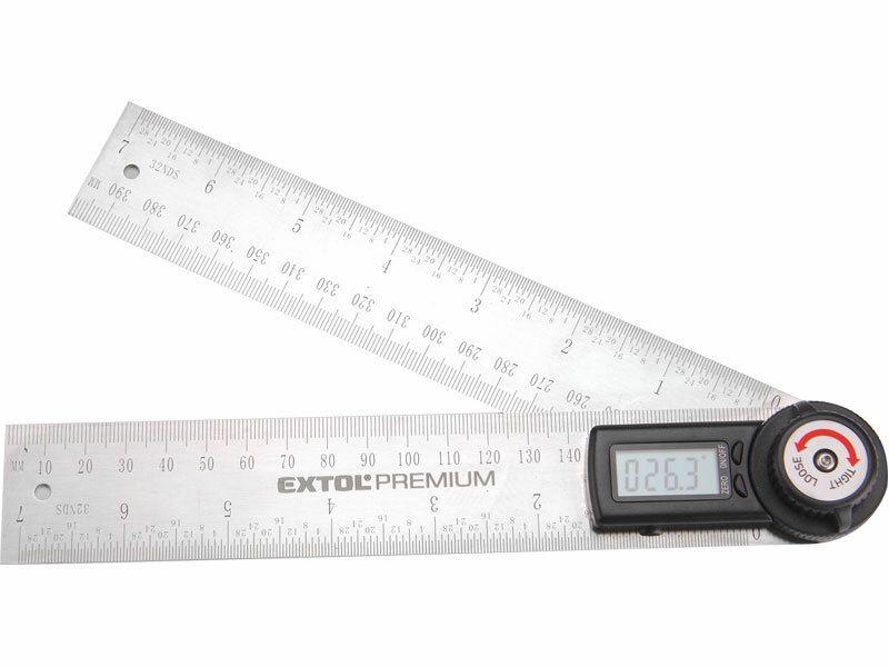 Úhloměr digitální, 200mm, s pravítkem, nerez