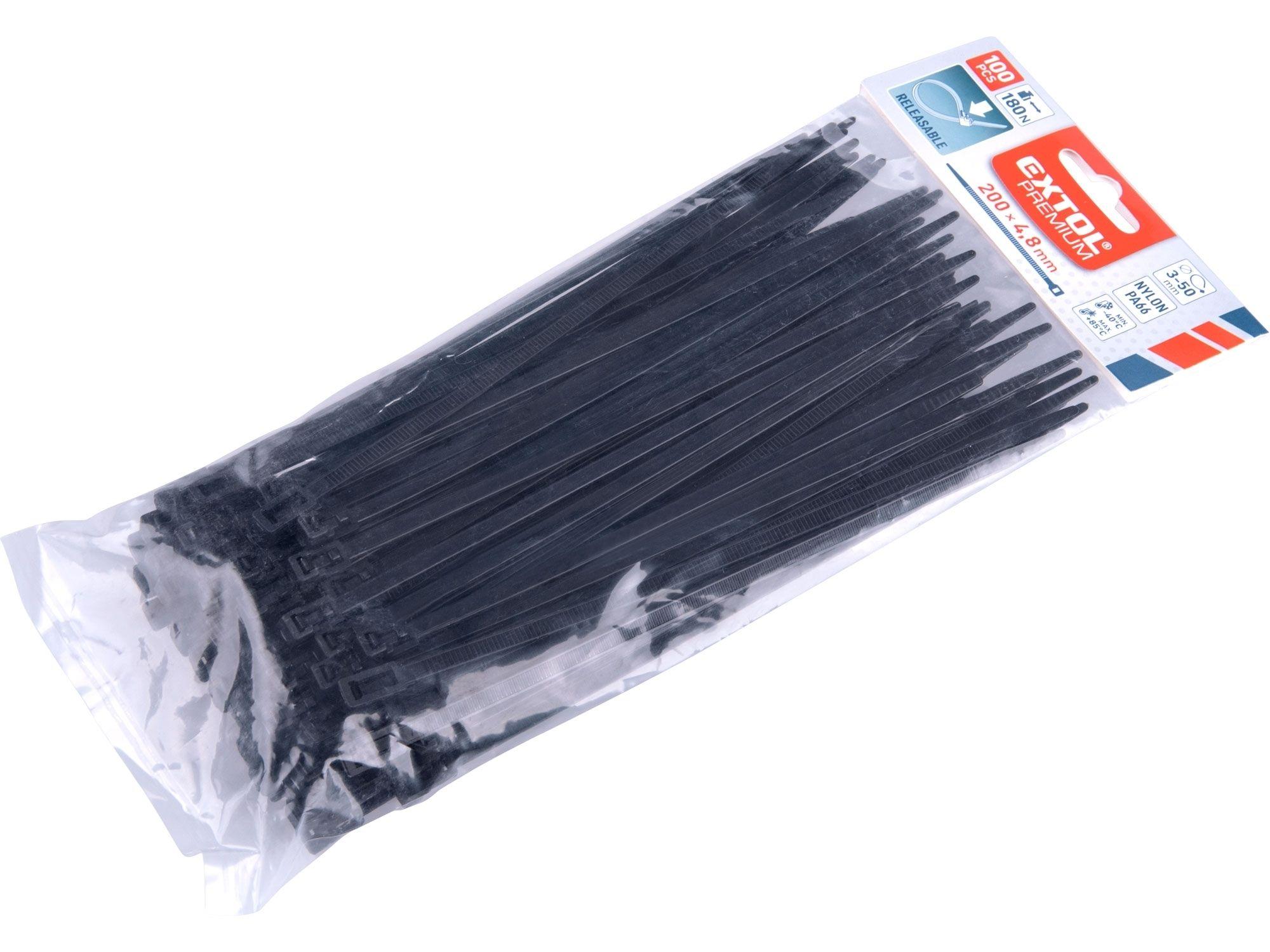 Pásky stahovací černé, rozpojitelné, 200x4,8mm, 100ks, nylon PA66