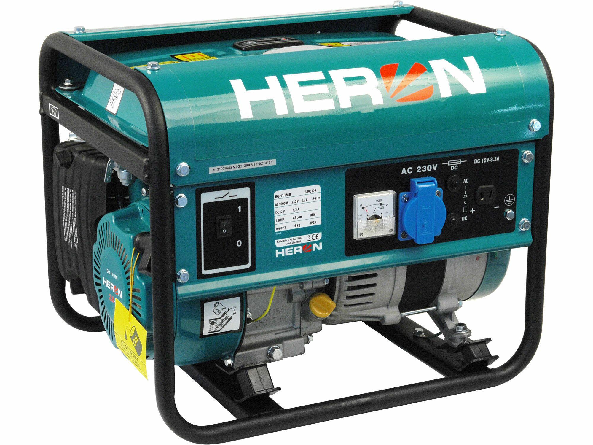 Elektrocentrála benzínová 2,8HP, 1,1kW, HERON, EG 11 IMR, 8896109