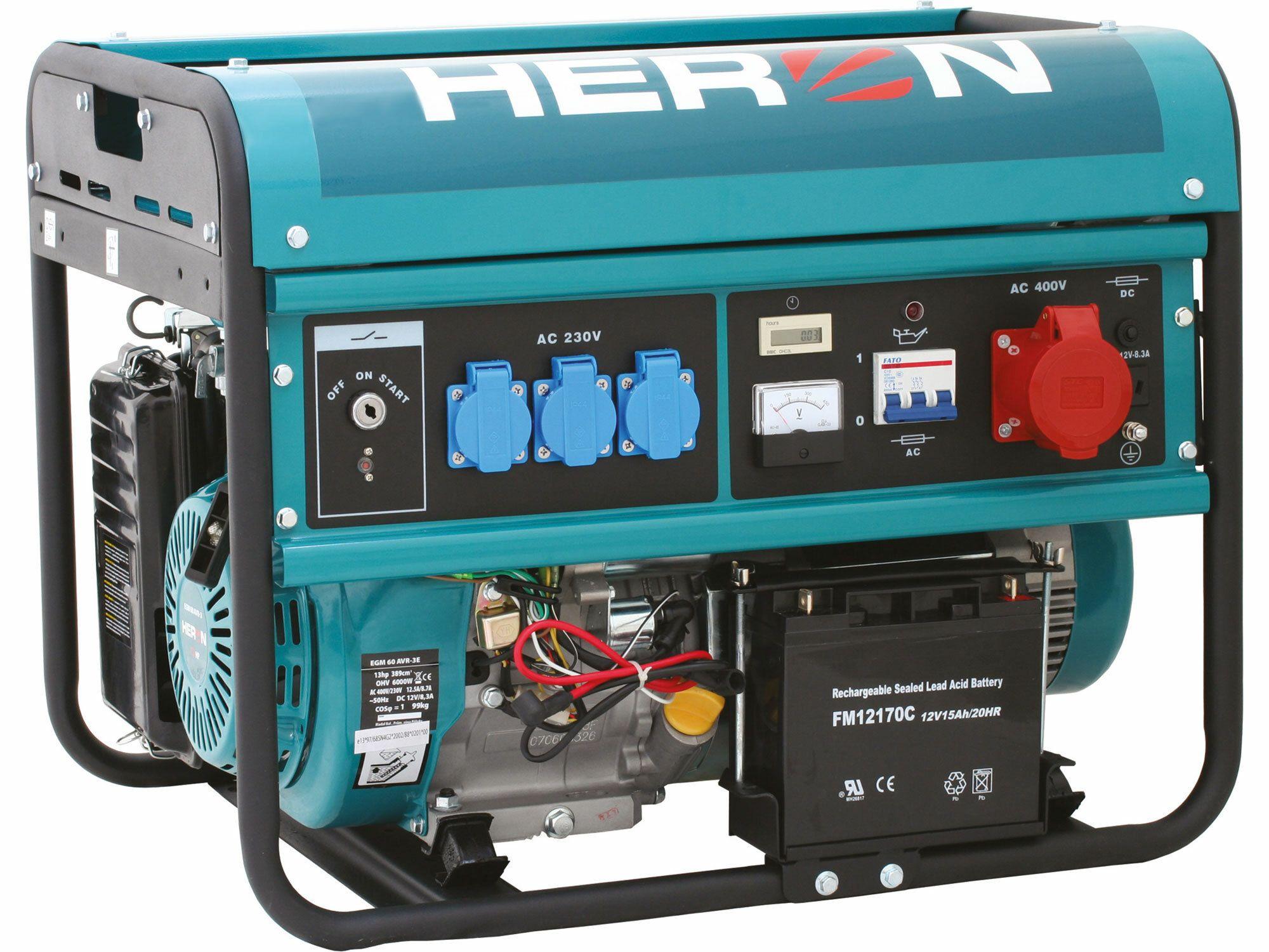 Elektrocentrála benzínová 13HP, elektr. štart, 6,0kW (400V)/2,2kW (230V), HERON, 8896114