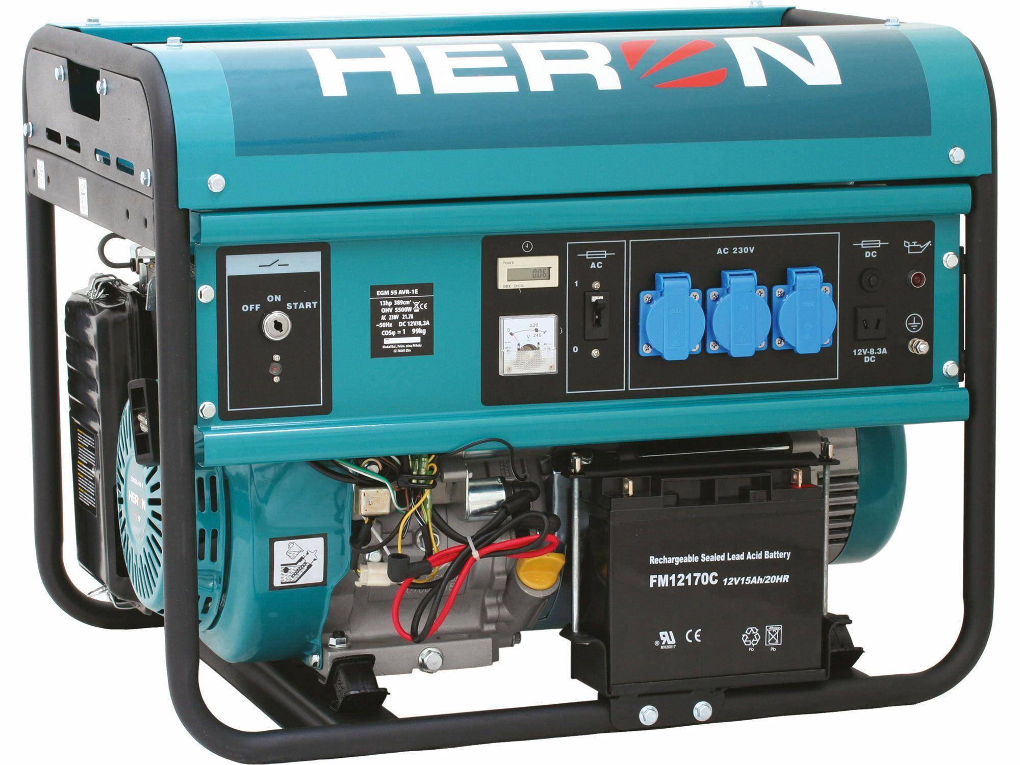 Elektrocentrála benzínová 13HP, na zváranie, elektrický štart, 5,5kW, HERON, 8896115