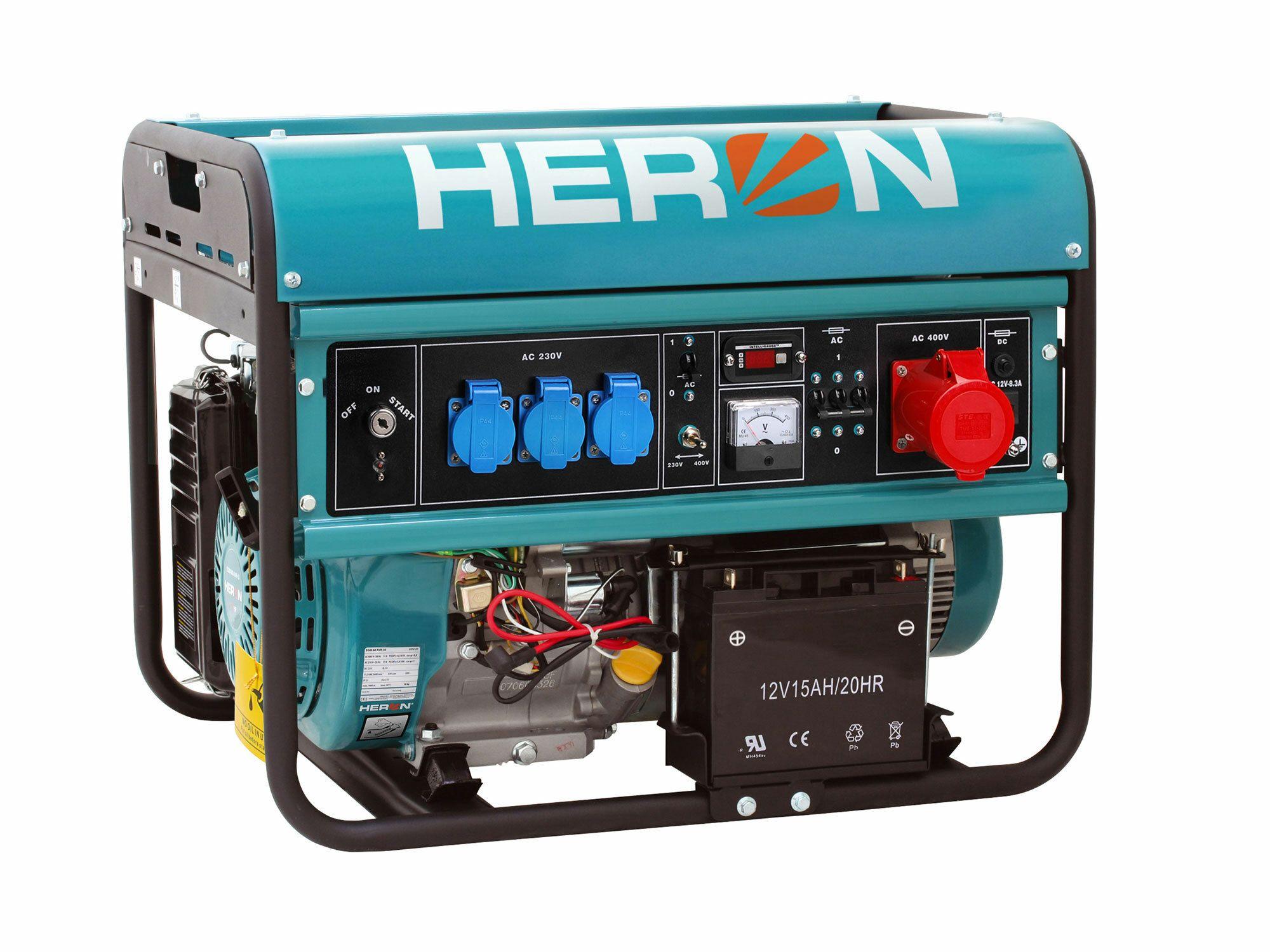Elektrocentrála benzínová 15HP, elektr. štart, 6,8kW (400V)/5,5kW (230V), HERON, 8896120
