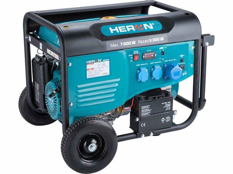 Elektrocentrála benzínová 7,0kW/15HP, pro svařování, el. start, podvozek, HERON, 8896421