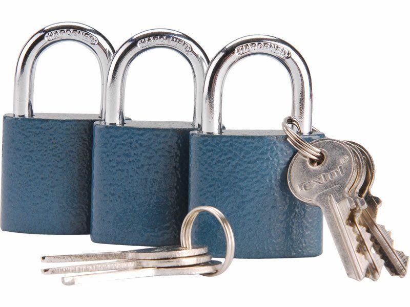 Zámky visací 38mm sjednocené na jeden klíč, sada 3 kusů, 6 klíčů