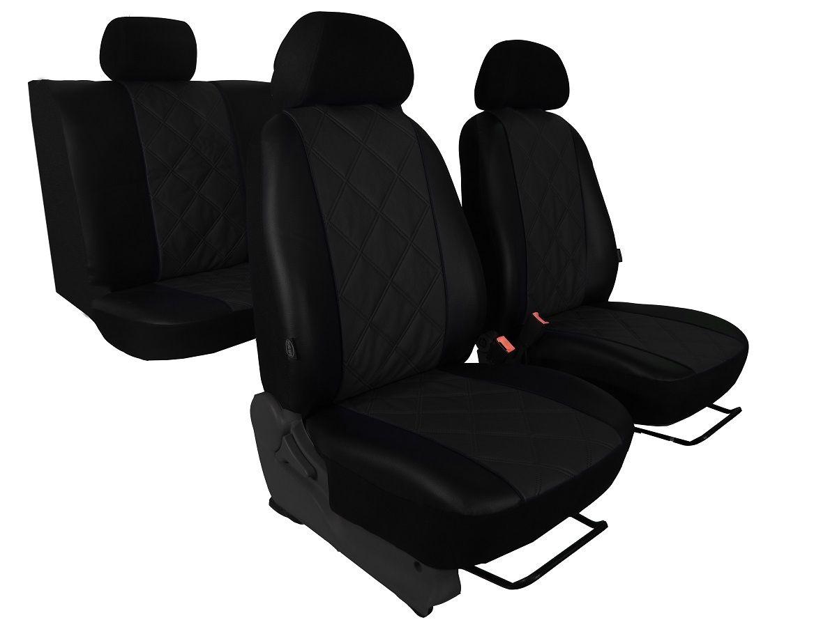 Autopotahy Škoda Fabia II, kožené EMBOSSY, dělené zadní sedadla, černé