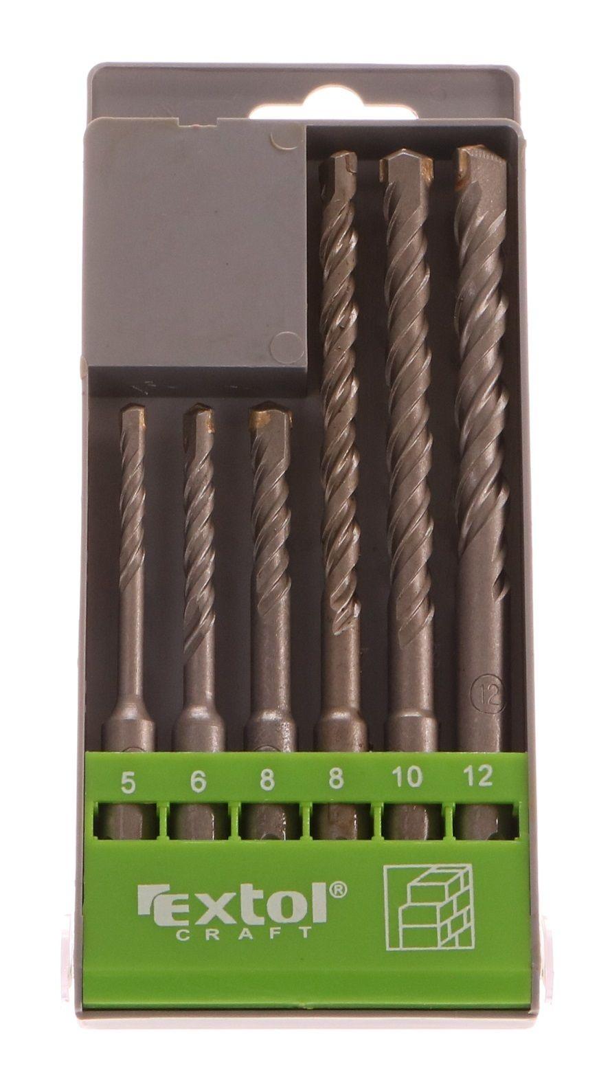 Vrtáky SDS PLUS příklepové do betonu, 6ks, Ř5-6-8x110mm, Ř8-10-12x160mm