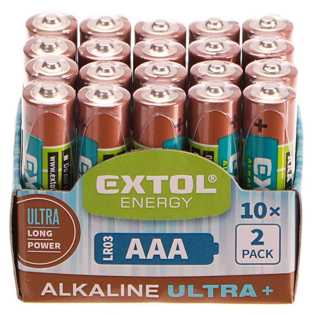 Baterie alkalické EXTOL ENERGY ULTRA +, 20ks, 1,5V AAA (LR03)