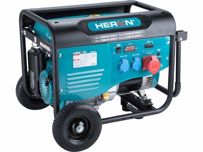 Elektrocentrála benzínová 13HP/6,0kW (400V), 2x2,2kW (230V), podvozek