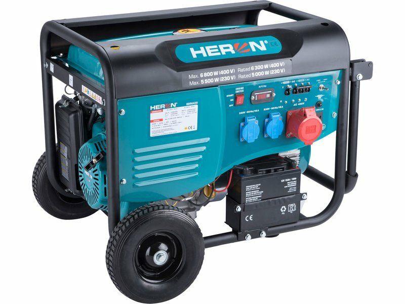 Elektrocentrála benzínová 15HP/6,8kW (400V), 5,5kW (230V), elektrický start, podvozek