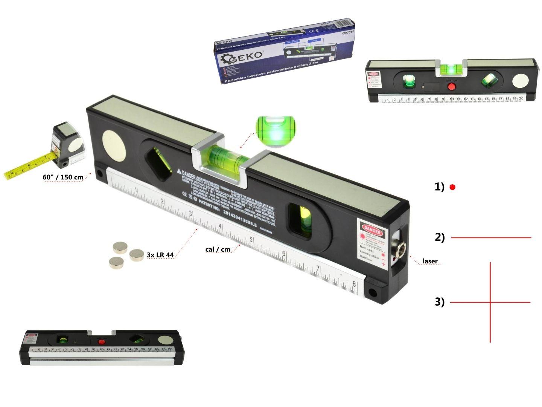 Laserová vodováha 1,5m, podsvětlená