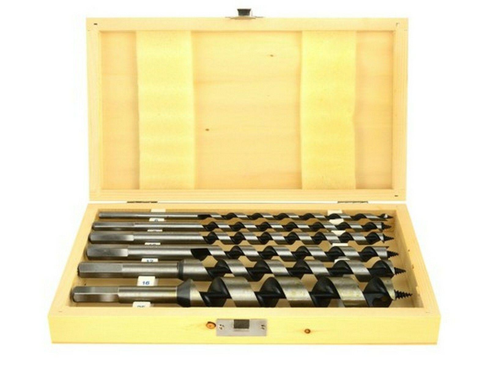 Vrtáky hadovité do dřeva, sada 6ks, 6-25mm, délka 230mm, v dřevěné kazetě, GEKO