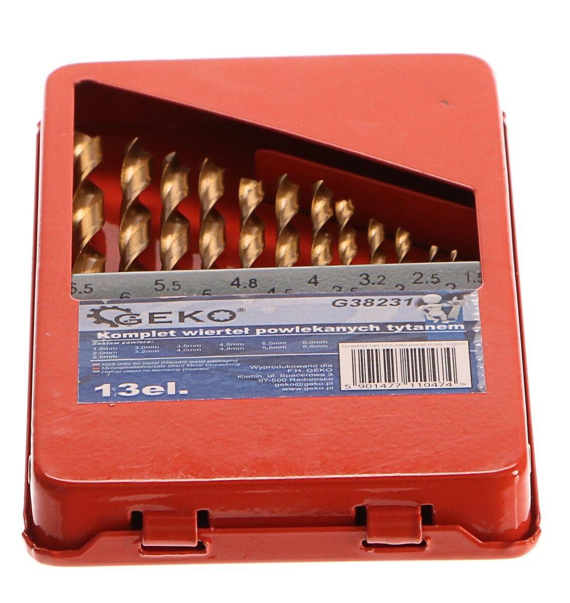 Vrtáky do kovu v krabičce, sada 13ks, 1,5-6,5mm, HSS, GEKO