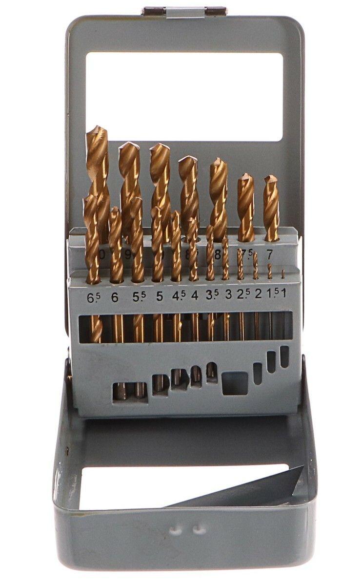 Vrtáky do kovu v kovové krabičce, sada 19ks, 1-10mm, po 0,5mm