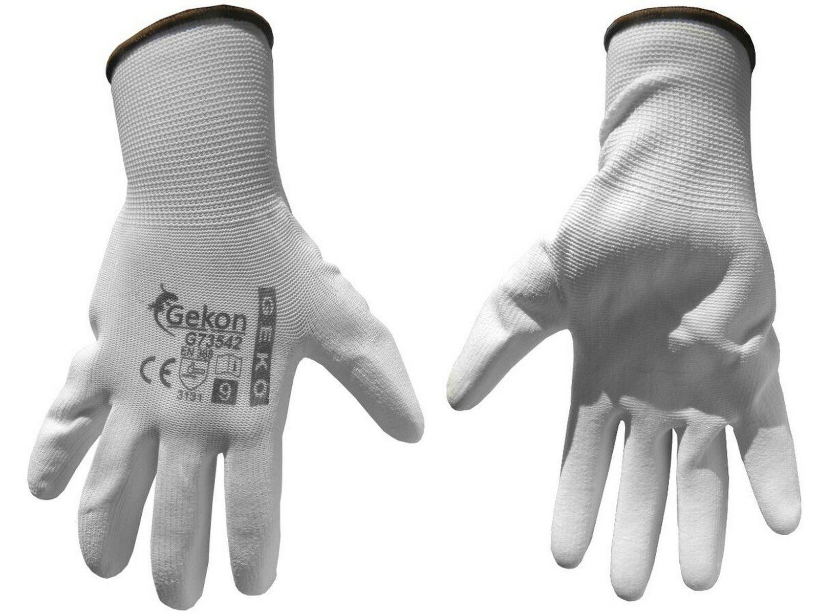 """Ochranné rukavice bílé z pletené bavlny, polomáčené v PU, velikost 9"""""""