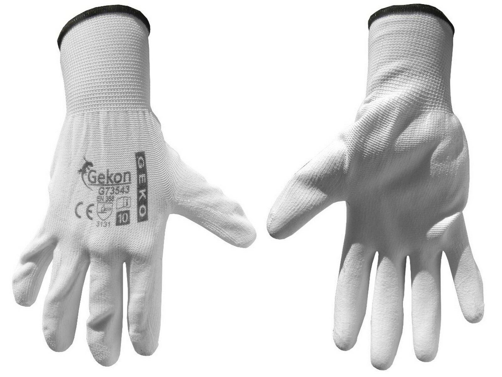 """Ochranné rukavice bílé z pletené bavlny, polomáčené v PU, velikost 10"""""""