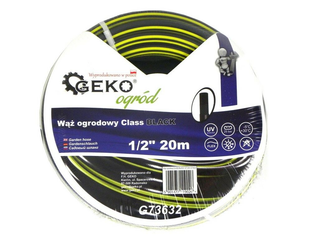 "Hadice zahradní černá 1/2"", 20 m, GEKO"