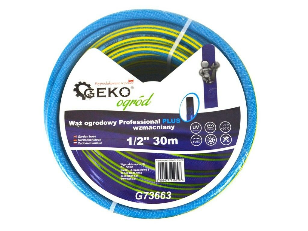 "Hadice zahradní PROFESSIONAL PLUS modrá 1/2"", 30 m, GEKO"