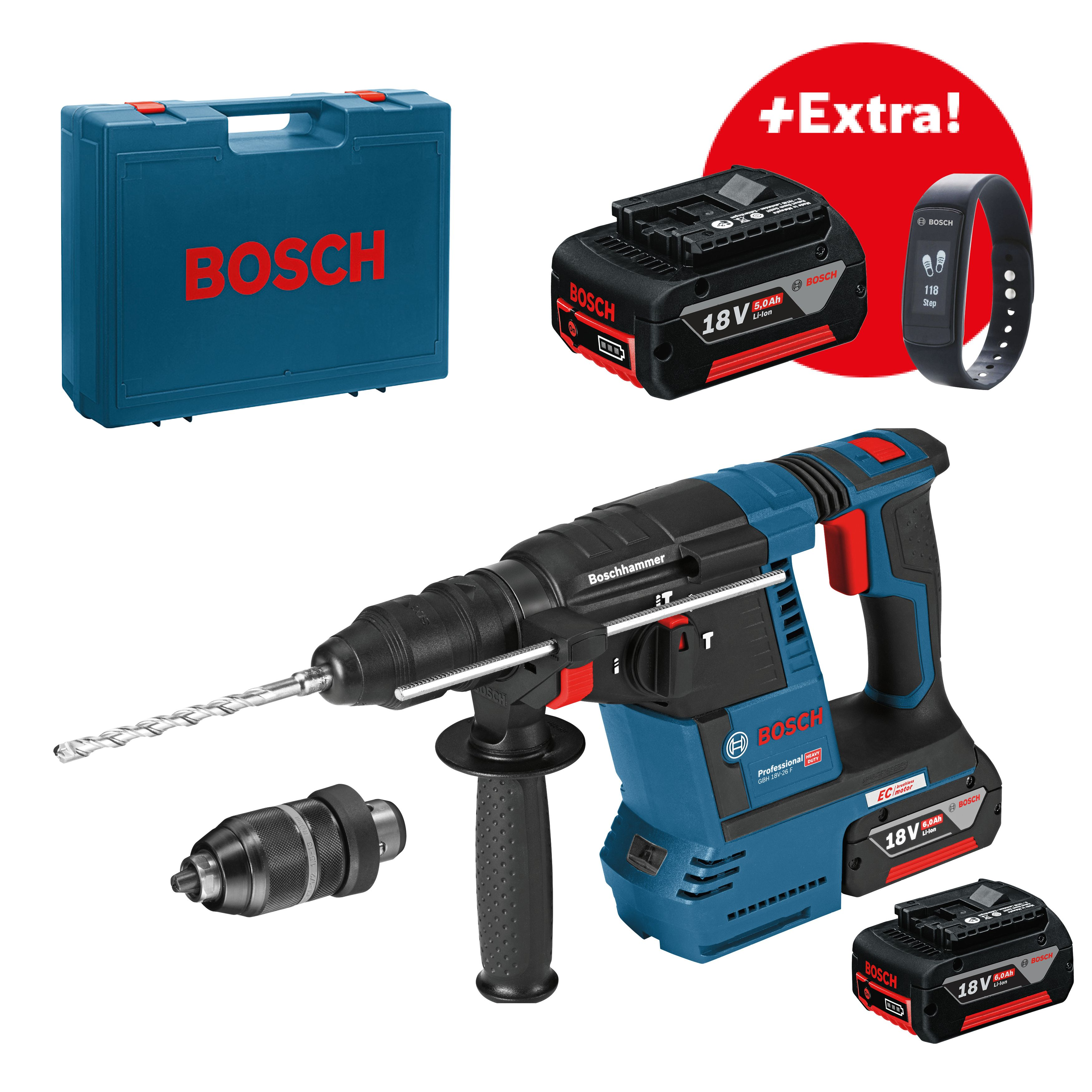 Aku kombinované kladivo SDS-Plus 2x6,0Ah + 1x5,0Ah Bosch GBH 18V-26F + sklíčidlo + náramek