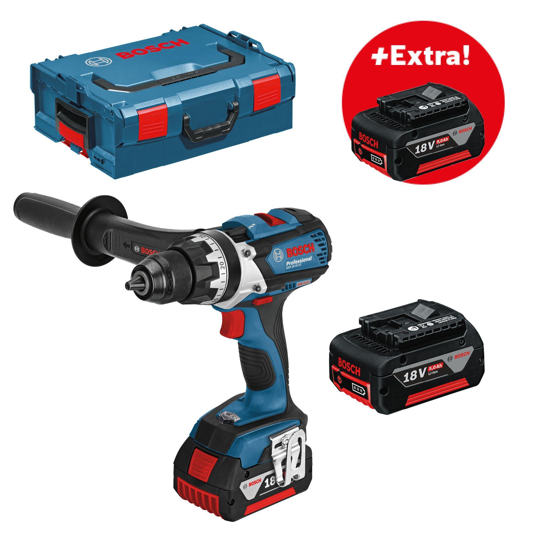 Aku vrtací šroubovák 18V 3x5,0Ah Bosch GSR 18 VE-EC Professional, BOSCH, 06019F1102
