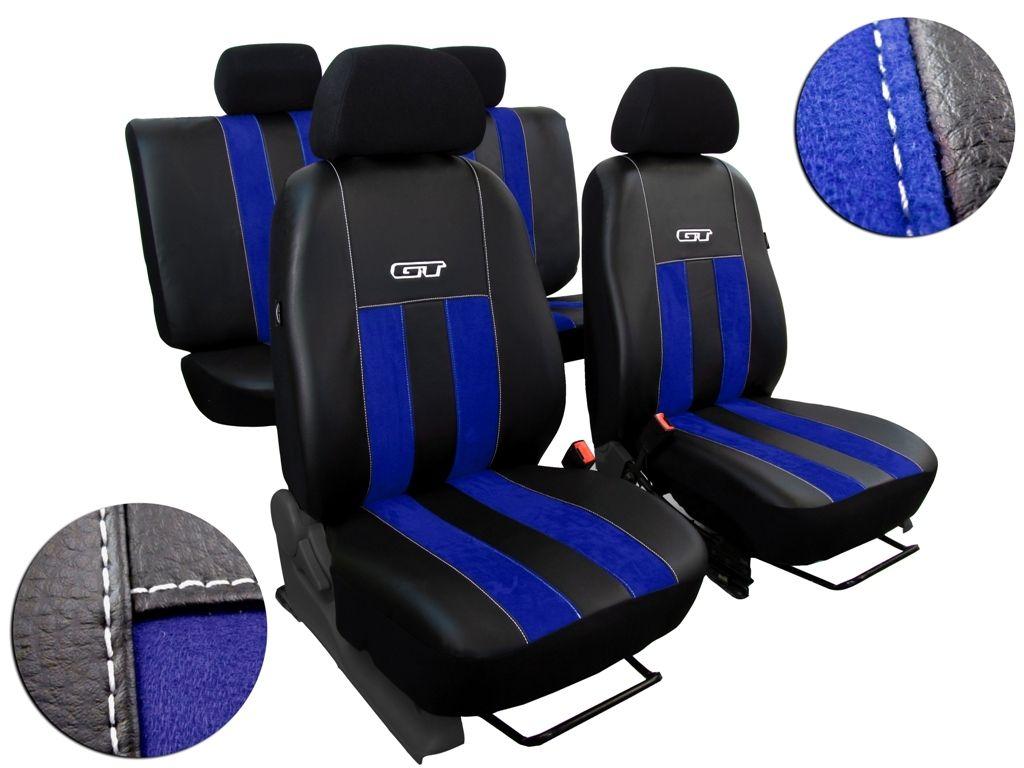 Autopotahy Škoda Rapid, kůže/alcantara GT modré, dělené zadn.opěradlo, zadní loketní op.