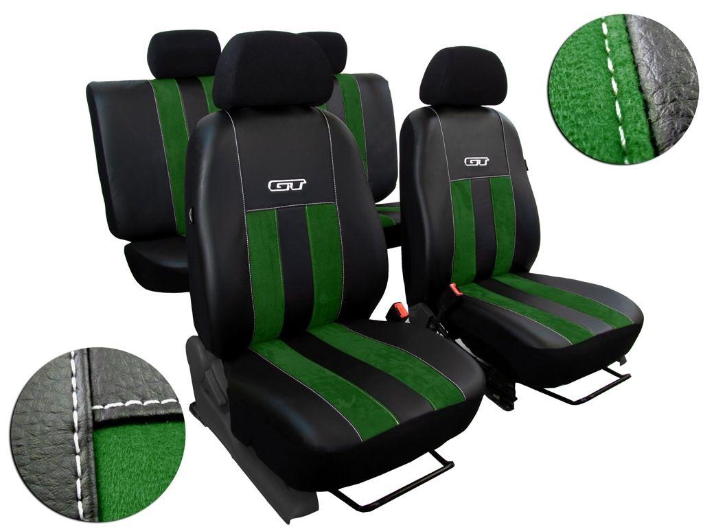 Autopotahy Škoda Fabia II, kůže s alcantarou, GT zelené