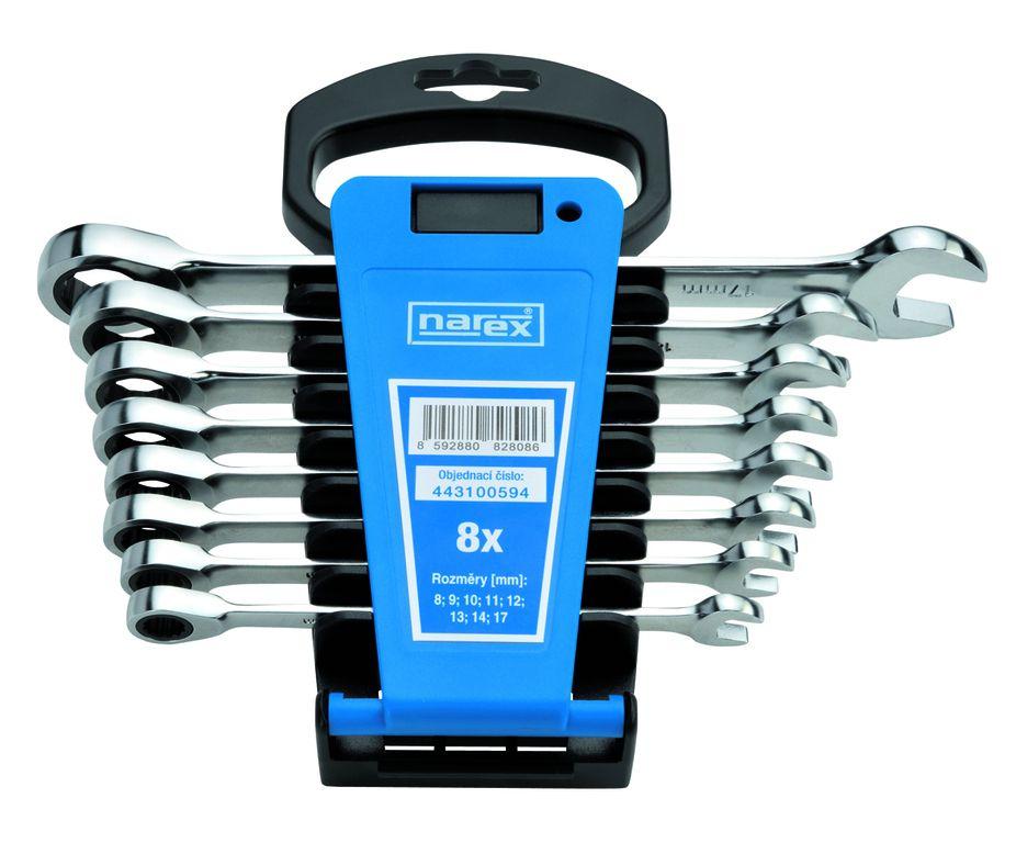 Sada klíčů 8dílná ráčnových plast. držák DIN3113, NAREX 443100594