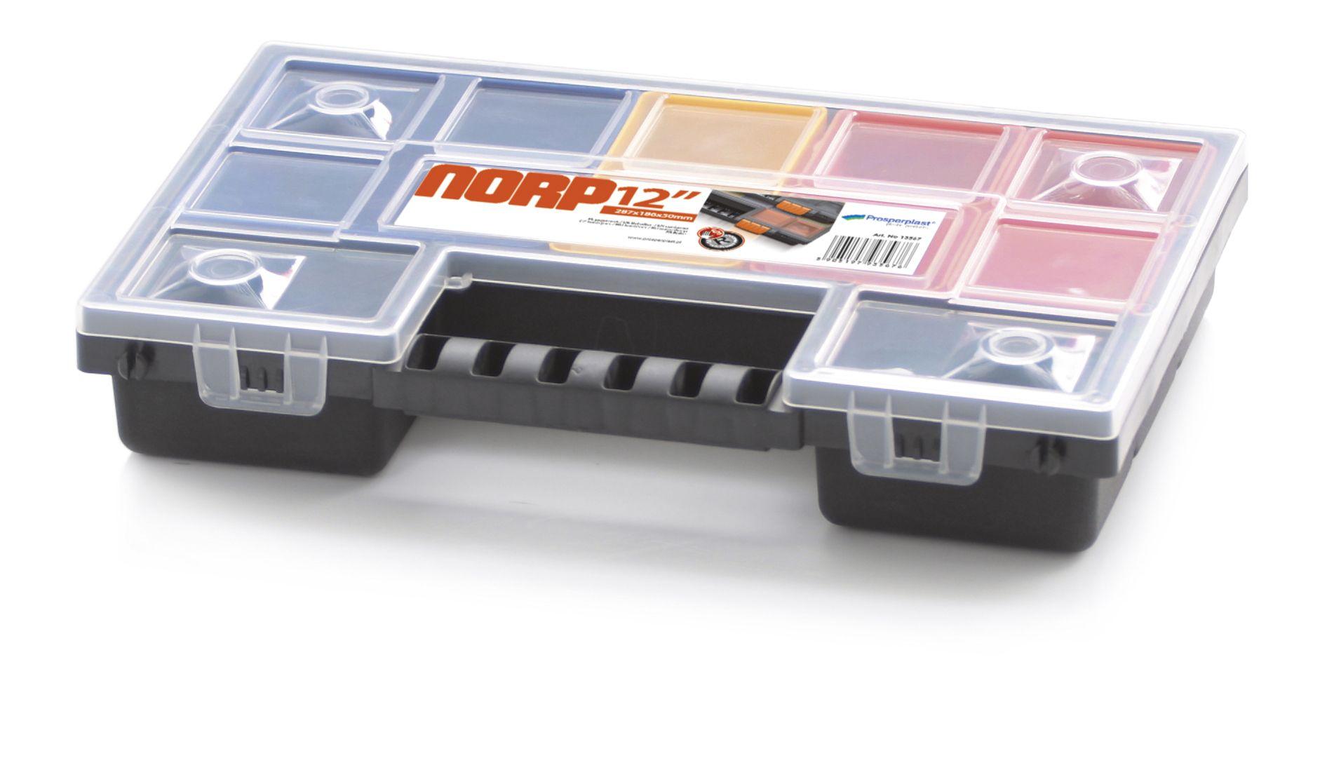Plastový organizér 12 barevných přihrádek NORP 287x186x50